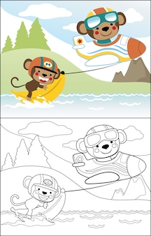 Cute monkeys cartoon playing banana boat