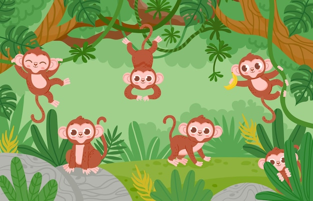 Симпатичные обезьяны, висящие на лианах в лесу джунглей. мультяшные счастливые обезьяны играют и прыгают. детский тропический зоопарк векторный пейзаж