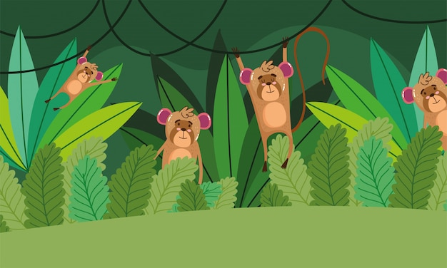 Cute monkeys hanging on tree on green forest