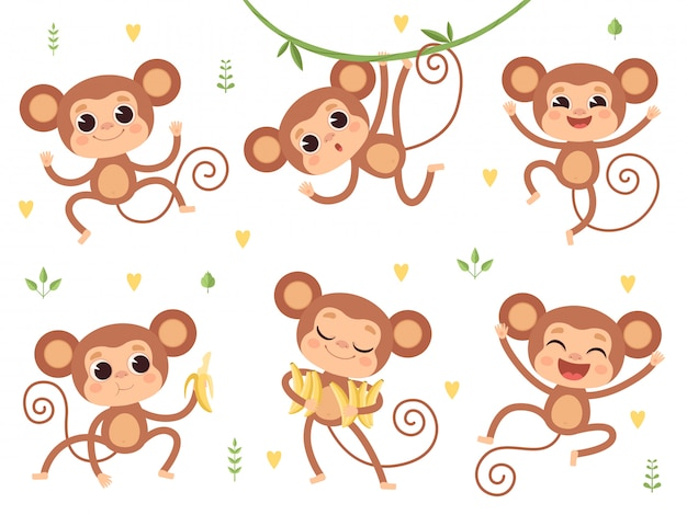 Cute monkeys. jungle wild animals baby little monkeys playing  characters in action poses