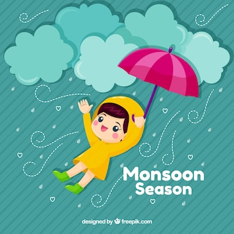 Cute monsoon background with kid and umbrella