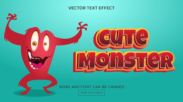 Симпатичный монстр 3d редактируемый текстовый эффект шаблон