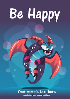 Cute monster be happy greeting card