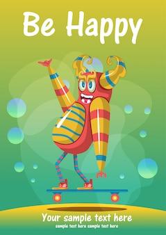귀여운 괴물 행복 인사말 카드