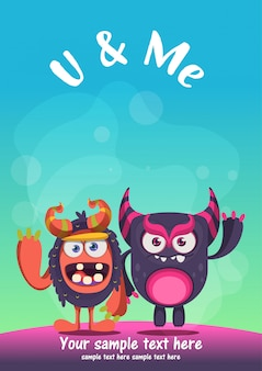 Cute monster best friends greeting card