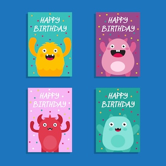 Cute monster birthday card collection