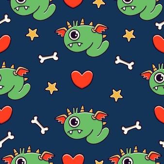 Cute monster cartoon doodle seamless pattern design