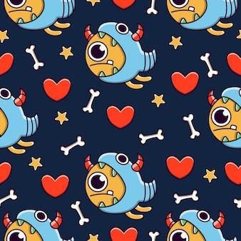 Cute monster cartoon doodle seamless pattern design