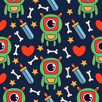 귀여운 괴물 만화 낙서 원활한 패턴 디자인