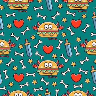 귀여운 괴물 만화 낙서 원활한 패턴