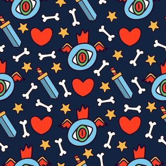 귀여운 괴물 만화 낙서 원활한 패턴 프리미엄 벡터