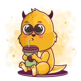 머천다이징을위한 귀여운 괴물 만화 마시는 커피 그림