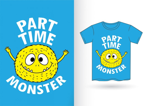 Cute monster cartoon for t shirt