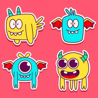 Cute monster character design illustration