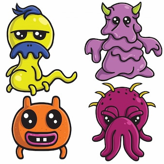Cute monster character design vector set