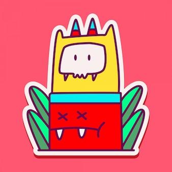 Милый монстр персонаж каракули дизайн