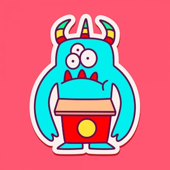 Cute monster character doodle