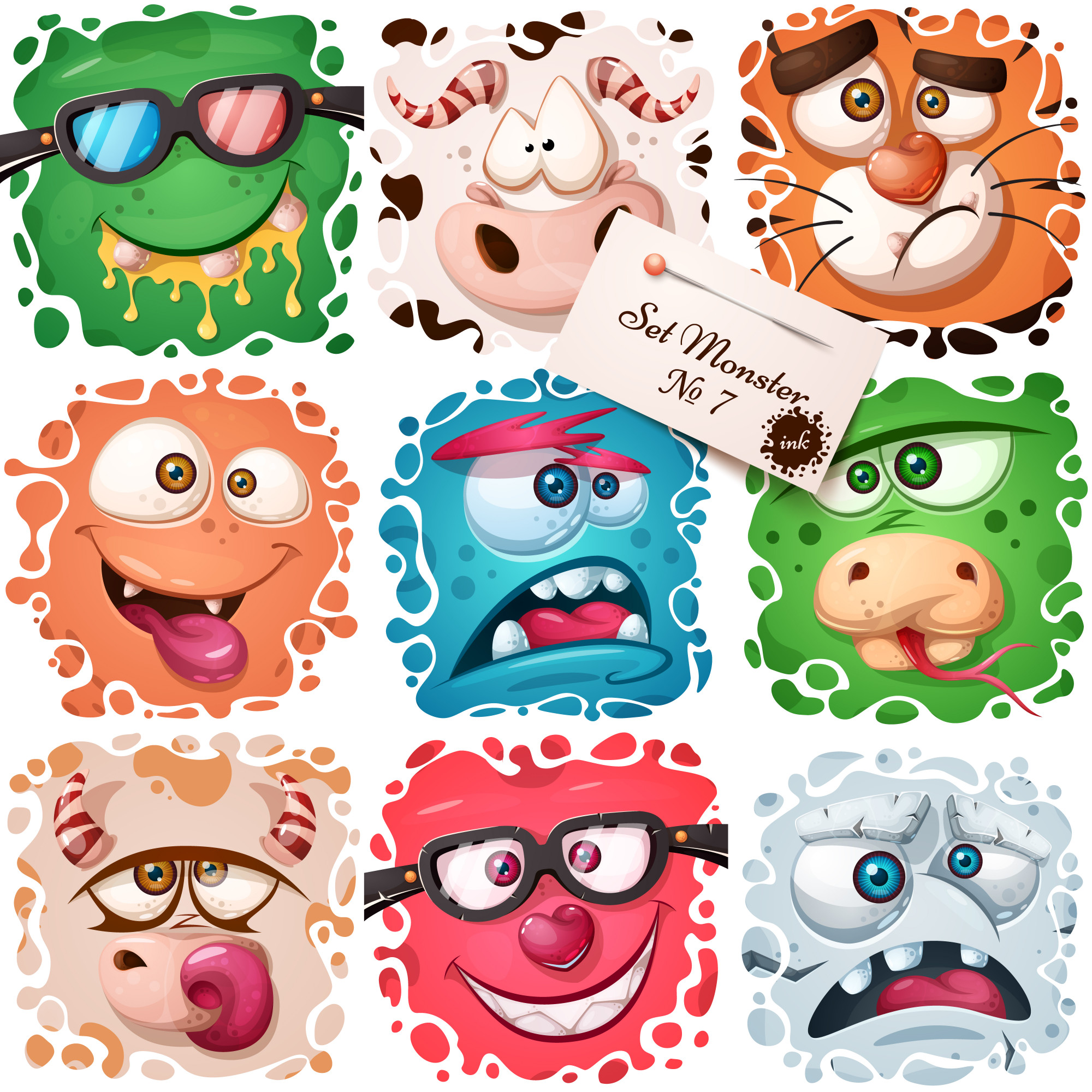 Cute monster characters