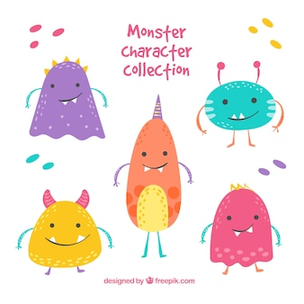 Cute monster collection of five