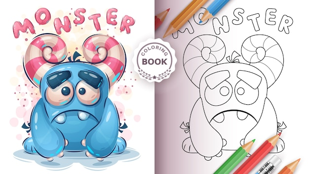 Cute monster coloring book for kid and children