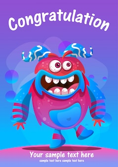 Cute monster congratulation greeting card