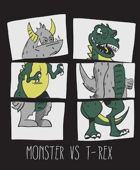 Cute monster & dinosaur vector design for t shirt printing