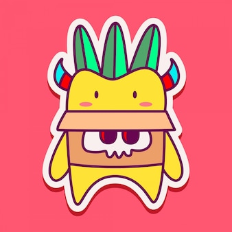 Cute monster doodle sticker  template