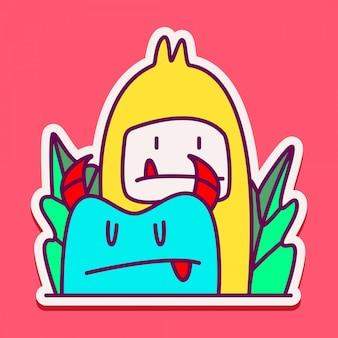 Cute monster doodle sticker