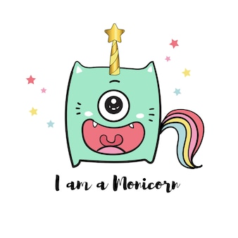 Cute monster doodle and unicorn