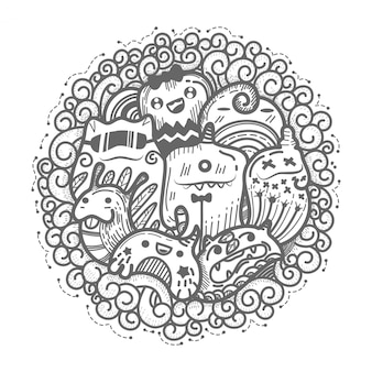 Cute monster doodles circle style.