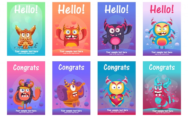 Cute monster greeting cards set