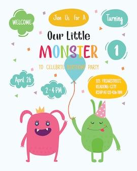 Cute monster happy birthday party invitation card design. vector