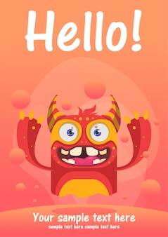 Cute monster hello greeting card