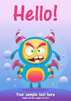 귀여운 몬스터 안녕하세요 인사말 카드