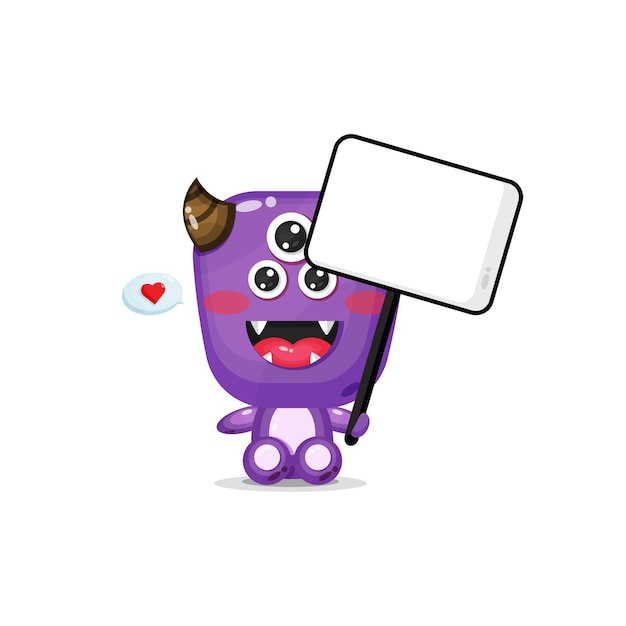 Cute monster holding a blank sign