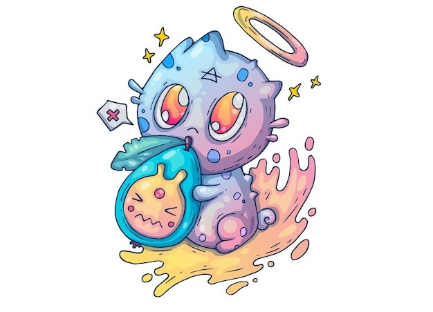 梨を抱き締めるかわいいモンスター。創造的な漫画のイラスト。