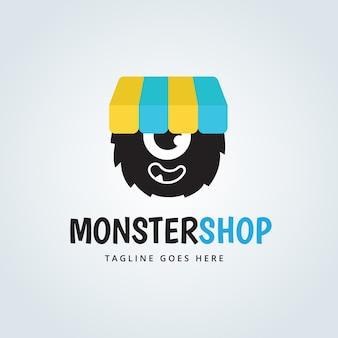 Симпатичный дизайн логотипа монстра