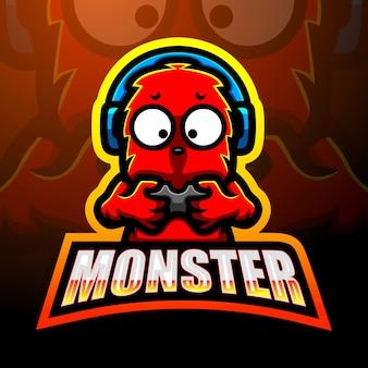 かわいいモンスターマスコットのロゴデザイン