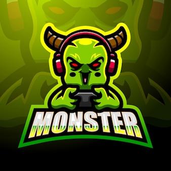 Cute monster mascot logo design