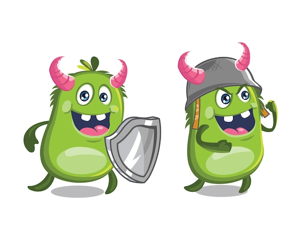 Cute monster mascot wearing helmet and carrying shield