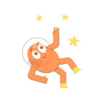 Cute monster in outer space with stars