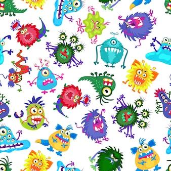 Симпатичные монстры партии детей бесшовные модели. фон с цветными монстрами. иллюстрация причудливого монстра
