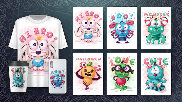 Cute monster - poster and merchandising
