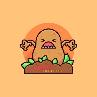 Cute monster potato cartoon logo