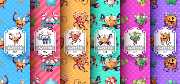 Cute monster - set seamless pattern