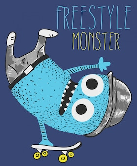 Cute monster skateboarding vector design