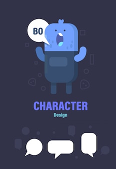 Cute monster and speech bubble . monster design . monster vector illustration