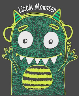 Cute monster vector design for t shirt printing