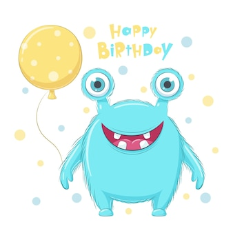 Cute monster with balloon. happy birthday clipart