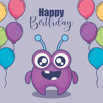 Cute monster with balloons helium birthday card